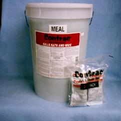 Contrac Mouse & Rat Meal Bait is shown both in a 25lb bulk pail and in packet form This meal form rodent bait contains brodifacoum
