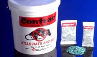 Contrac Pellet Rodent bait is shown both as a bulk pail and in packet form these brodifacoum pellets are very effective in baiting rodents