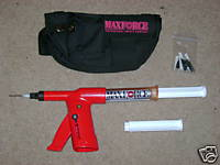 MAXFORCE FC STARTER KIT is shown with red bait gun and black holster with maxforce gel baits
