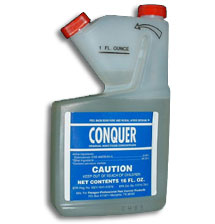 Conquer Insecticide Concentrate with Residual is shown in its blue labeled bottle This powerful insecticide lasts a long time and will take down even your nastier pests with ease