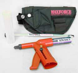 Maxforce Professional Bait Gun is shown orange in color with black branded maxforce bait gun holster