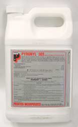 Pyronyl 303 EC 3% is pictured a pyrethrum concentrate. This picture is a gallon container showing the triple P prentox Logo