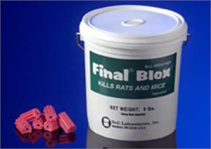 Final Blox are shown in a pail these red colored blox will stop rats and mice of all types and feature a hole perfect for use woth rodent stations!