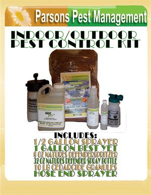 Indoor / Outdoor Pest Control Eradication Kit are available. These include several size containers of natures defender / best yet sprays, cedarcide the leader in pest control granules, as well as sprayers for indoor and outdoor applications
