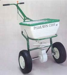 Prizelawn CBR push/pull spreader is shown green in color this spreader which is pushed or pulled to dispense your material will cover more groound faster!