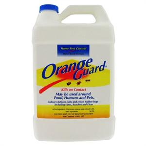 Orange Guard is shown in a gallon bottle. This natural pest control product is effective indoors and outdoors killing a variety of bugs on contact including roaches, ants, fleas, and more!