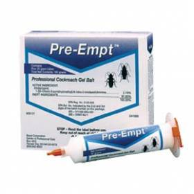Pre-EMPT Cockroach Gel is shown as the blue and white box of syringes