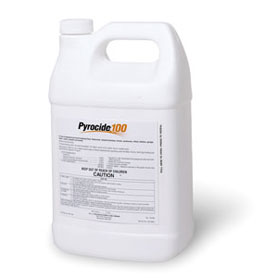 PYROCIDE 100 uses a full 1% pyrethrum to control a long list of household pests and is shown here in a gallon jug