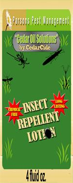 Insect repellent lotion by cedarcide provides personal protection from mosquitos, fleas, flies, chiggers,gnats, and other pesky insects.
