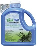 Roundup Quikpro herbicide is shown in its blue bottle. Roundup is one of the most popular herbicides out there and this product is no exception!
