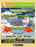 Cedarcide natural organic insect control granules are available now As this front label points out, these granules provide excellent shrub and lawn insect control that lasts. These repel a large variety of bugs.