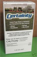 Certainty Selective Turf Herbicide by Monsanto is shown. this effective selective systemic herbicide will control a lot of different weeds
