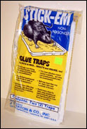 Stick Em Glue Traps for Rats are shown in a package of two rat traps, these rodent traps are non poisonous and very effective