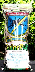 Cedarpuffs Front label is shown featuing a mosquito