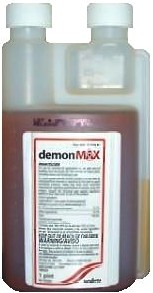 Demon Max insecticide is pictured in its concentrated form in a bottle reddish colored