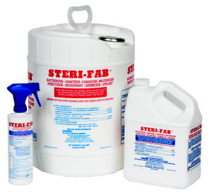 Sterifab is shown in a variety of sizes this powerful bacteriacide will kill a long list of bugs, mold, bacteria and much much more!