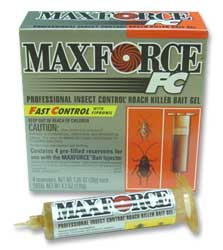 Maxforce FC Professional Roach Bait Gel is hsown in its 4 pack box this roach gel is the industry standard