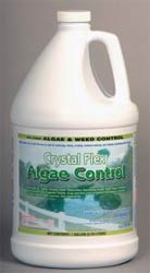 CRYSTAL PLEX  is a form of cutrine algaecide that will even control aquatic plants and is shown here in a gallon jug