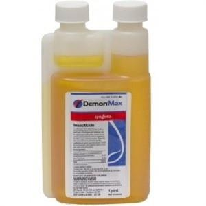 Demon Max insecticide is pictured in its concentrated form in a bottle reddish / yellow colored