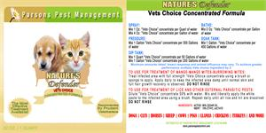 Vets Choice Cedar Oil Concentrate is shown with a cat and dog on the label in the parsons green and tan colors