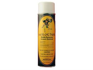 Aerothor Multi Purpose Insect Control is shown in its Aerosol bottle. This spray will control a long list of bugs including full carpet flea treatment!