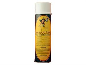 Aerothor Wasp and Hornet Killer is shown in its 13oz aerosol can. This spray quickly kills and keeps killing any wasps, hornets, or yellow jackets in the area!