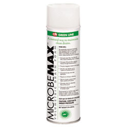 Microbe Max Volumetric Drain Foam is shown in a 20oz aerosol foaming can This drain cleaner is high powered and new from the CB company