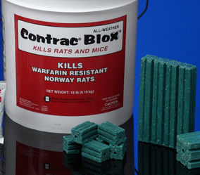 Contrac Blox Rodenticide is shown these blox use bromadiolone for less toxic effect and wide range rodent annihlation!