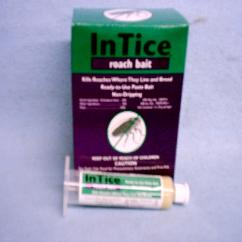 Intice Roach Bait is shown both in a 35g syringe AND in the purple and green box of 5
