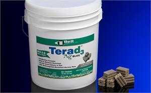 Terad3 Ag BLOX are shown in an 18Lb Pail. These rodent blocks use vitamin d3 to provide great palatibility while reducing risk of secondary poisoning to your pets